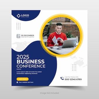 Business-konferenz-social-media-banner oder quadratisches flyer-vorlagendesign