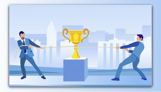 Business-konkurrenten, die versuchen, den goldenen pokal für sich zu gewinnen