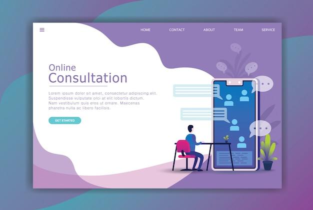 Business-landing-page für modernes flaches design