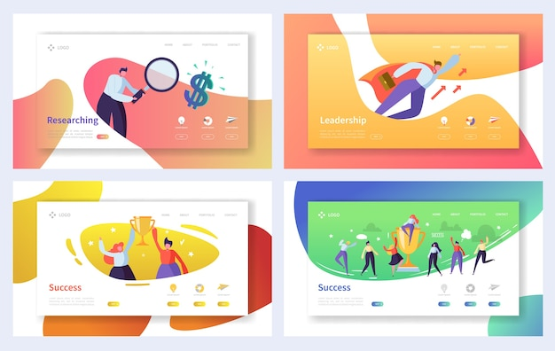 Business landing page template set. geschäftsleute charaktere recherche, führung, erfolgskonzept für website oder webseite.