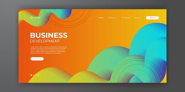 Business-landingpage mit abstraktem modernen 3d-hintergrund. trendiger abstrakter flüssiger hintergrund für ihr landingpage-design. minimaler hintergrund für website-designs.