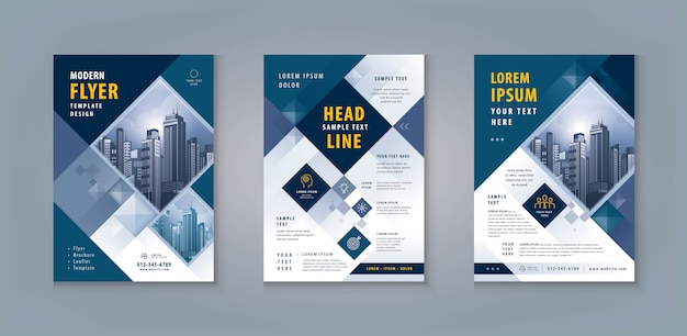 Business leaflet oder flyer template design set. corporate flyer vorlage a4 größe