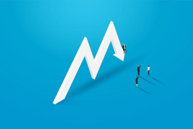 Business-leute-investor reitet den wirtschaftlichen abschwung und nicht die erfolgsillustration vector