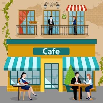 Business-lunch-leute-flache zusammensetzung