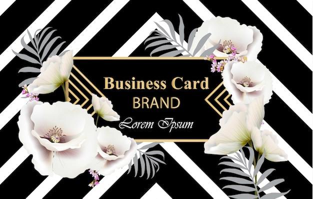 Business-luxus-karte vektor. modernes abstraktes design mit mohnblume blüht dekor. platz für texte