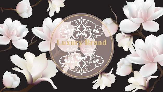Business-luxus-karte vektor. modernes design mit magnolien blumendekor. platz für texte