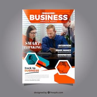 Business-magazin-cover-vorlage mit model posiert