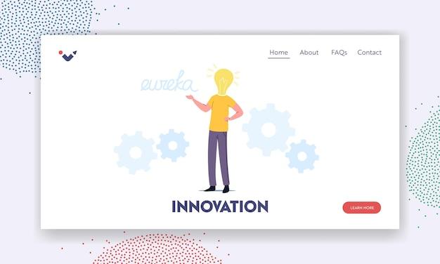 Business man arbeit an projektsuche kreative idee yell eureka landing page template. männlicher charakter mit riesiger glühbirne statt kopfdenken, brainstorming, forschungslösung. cartoon-vektor-illustration
