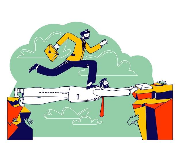 Business man careerist, social climber charakter mit aktentasche läuft über kopf des kollegen wie auf der brücke