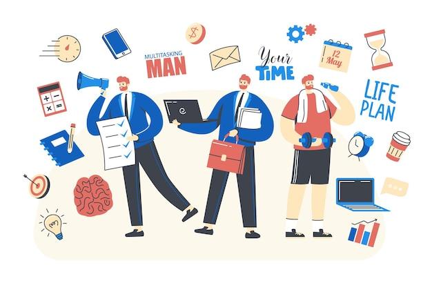 Business man character mit multitasking-fähigkeiten arbeiten am laptop im büro, trainieren mit hanteln und machen eine to-do-liste. worker-zeitmanagement-produktivitätskonzept. lineare menschen-vektor-illustration