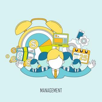 Business-management-konzept im flachen, dünnen linienstil