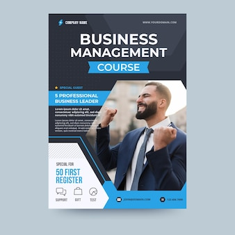 Business management kurs business flyer vorlage