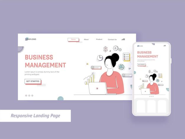 Business management landing page mit cartoon-frau, die am laptop arbeitet
