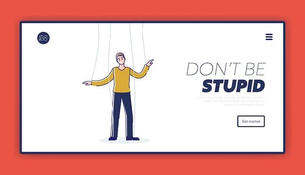 Business manipulation landing page mit mann marionette auf seilen manipuliert und kontrolliert