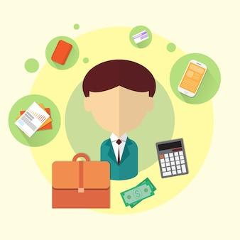 Business-mann-bank-büroangestellt-ikone flach
