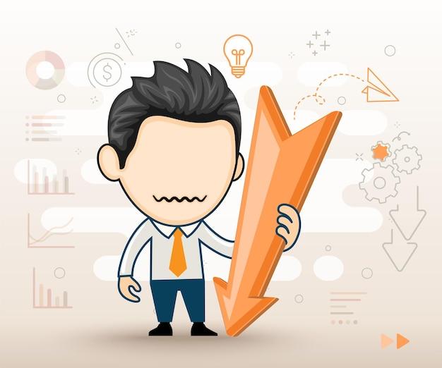Business-mann-charakter mit nach unten fallendem pfeildiagramm geschäftskonkurskonzept im cartoon-stil