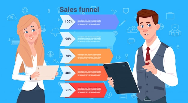 Business mann frau verkaufstrichter mit schritten stufen business infografik. kauf diagramm konzept