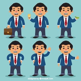 Business-mann-pack mit verschiedenen haltungen