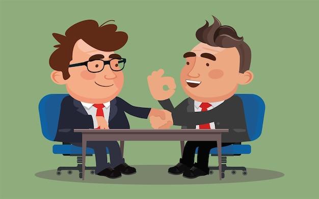 Business-mann-partner, die sich nach der unterzeichnung der vertragsvereinbarung die hände schütteln.