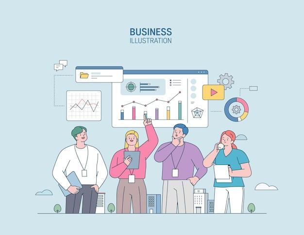 Business-marketing-illustrationsmänner und -frauen, die im geschäft tätig sind