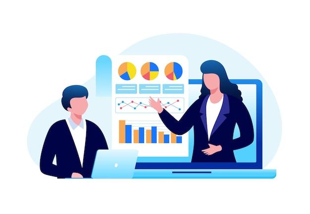 Business-meeting-analyst-finanzkonzept flache vektorgrafik für banner und zielseite