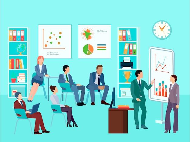 Business-mitarbeiter-charaktere für statistikanalysen, die die zusammensetzung der mitarbeitersitzung treffen