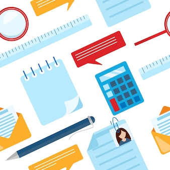 Business nahtlose muster mit notizblock, taschenrechner, lineal, lupe, kugelschreiber, diagramm, grafik.