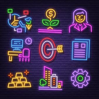 Business neon icon set