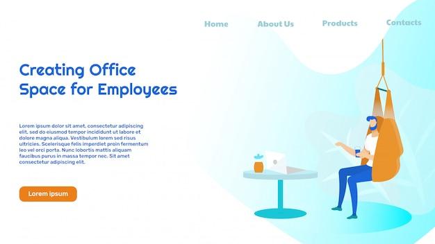 Business office einrichtung landing page vorlage