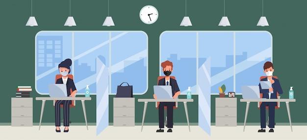 Business office-mitarbeiter halten am arbeitsplatz abstand.