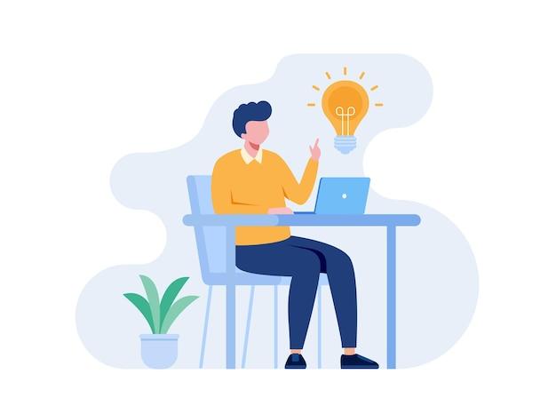 Business-online-idee oder brainstorming-konzept flache vektorgrafik für banner und zielseite
