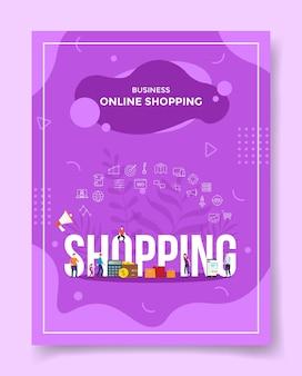 Business online-shopping-konzept menschen rund um wort shopping lautsprecher rechner geldbörse geld geld papiertüte smartphone für vorlage