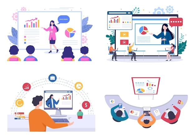Business-online-training, seminar oder kurse-hintergrund-vektor-illustration. mentor hält präsentation über marketing, vertrieb, bericht und e-commerce