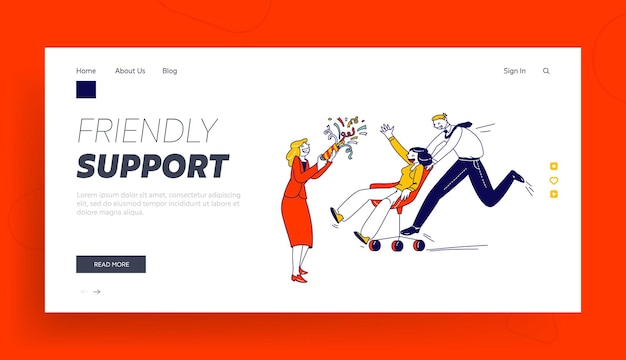 Business people characters fooling nehmen sie an stuhlrennen in der office landing page template teil.