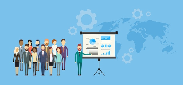 Business people group präsentation flipchart finanzen