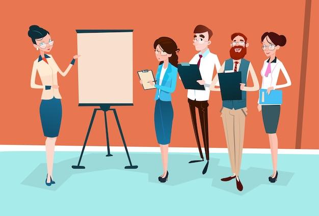 Business people group präsentation flipchart