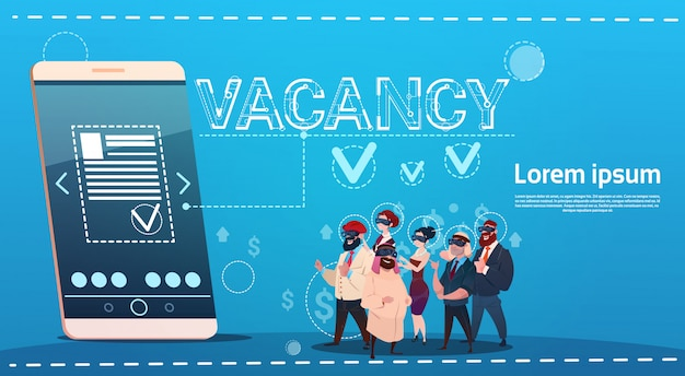 Business people group stellenangebot suche online-mitarbeiterposition personalbeschaffung