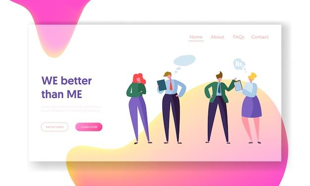 Business people teamwork kommunikation landing page. corporate community team charaktergespräch. unternehmensnetzwerk-dialogkonzept für website oder webseite. flache karikatur-vektor-illustration