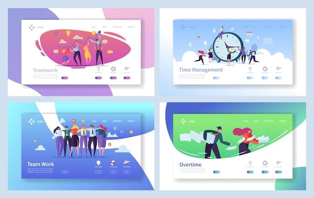 Business people teamwork landing page set.