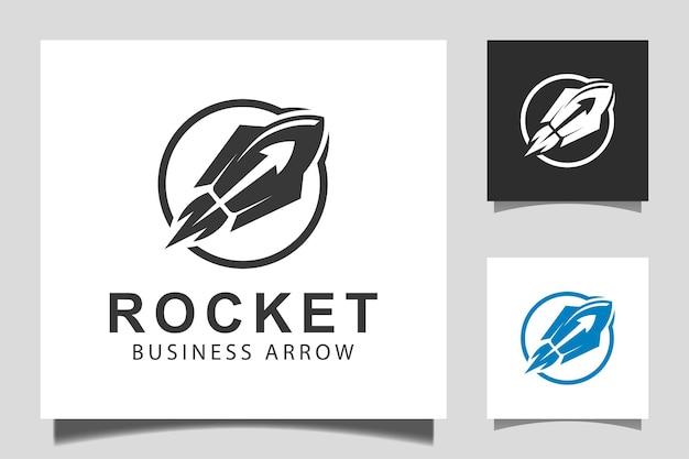 Business-pfeil-raketenstart mit oberem fortschrittssymbol-vektordesign für marketing-start-up-logo-vorlage