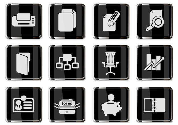 Business-piktogramme in schwarzen chromknöpfen. symbolsatz für ihr design. vektorsymbole