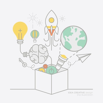 Business-plan-idee konzept umriss symbole illustration