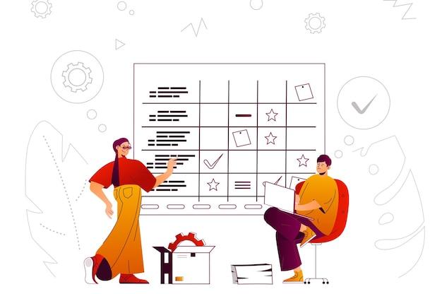 Business planning web concept mitarbeiter führen arbeitsaufgaben nach plan aus
