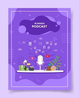Business-podcast-konzept für vorlage von bannern