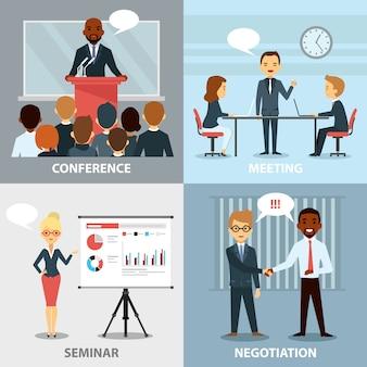 Business pofessionals, die flache sammlung der ideen darstellen