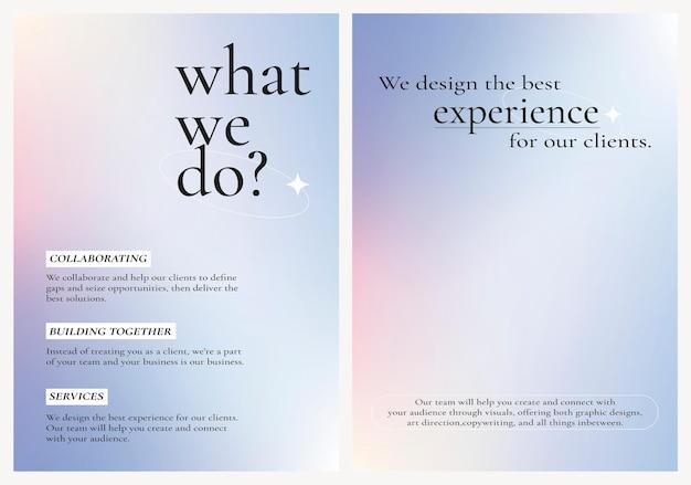 Business-poster mit farbverlauf und bearbeitbarer textsammlung