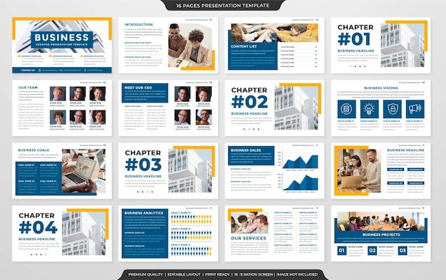 Business-powerpoint-layout-vorlage im premium-stil