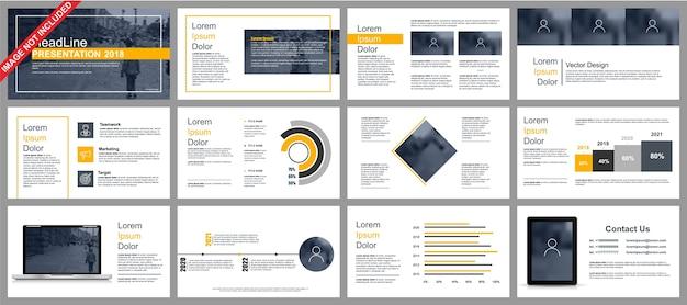 Business powerpoint-präsentation schiebt vorlagen aus infografik-elementen. Premium Vektoren