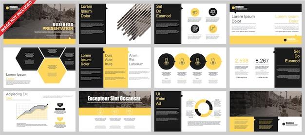 Business powerpoint-präsentation schiebt vorlagen aus infografik-elementen.