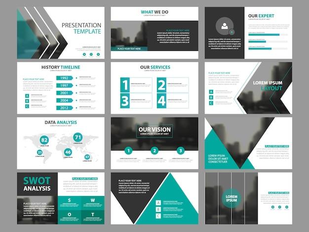 Business-präsentation infografik elemente vorlagensatz, jahresbericht corporate horizontale broschüre design-vorlage